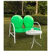 Griffith 2 Piece Metal Outdoor Conversation Seating Set - Loveseat & Table in Grasshopper Green Finish