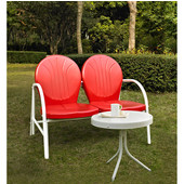 Griffith 2 Piece Metal Outdoor Conversation Seating Set - Loveseat & Table in Red Finish