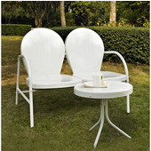 Griffith 2 Piece Metal Outdoor Conversation Seating Set - Loveseat & Table in White Finish