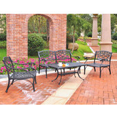 Sedona 4 Piece Cast Aluminum Outdoor Conversation Seating Set - Loveseat, 2 Club Chairs & Cocktail Table in Black Finish