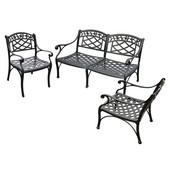 Sedona 3 Piece Cast Aluminum Outdoor Conversation Seating Set - Loveseat & 2 Club Chairs Black Finish