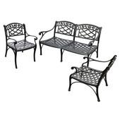 Sedona 3 Piece Cast Aluminum Outdoor Conversation Seating Set - Loveseat & 2 Club Chairs Black Finish