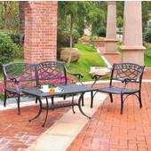 Sedona 3 Piece Cast Aluminum Outdoor Conversation Seating Set - Loveseat, Club Chair & Cocktail Table Black Finish