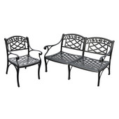 Sedona 2 Piece Cast Aluminum Outdoor Conversation Seating Set - Loveseat & Club Chair Black Finish