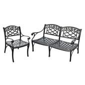 Sedona 2 Piece Cast Aluminum Outdoor Conversation Seating Set - Loveseat & Club Chair Black Finish
