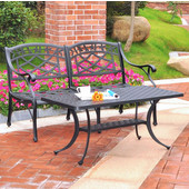 Sedona 2 Piece Cast Aluminum Outdoor Conversation Seating Set - Loveseat & Cocktail Table Black Finish