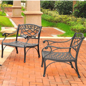 Sedona 2 Piece Cast Aluminum Outdoor Conversation Seating Set - 2 Club Chairs Black Finish