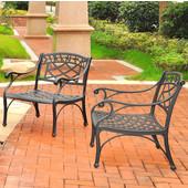 Sedona 2 Piece Cast Aluminum Outdoor Conversation Seating Set - 2 Club Chairs Black Finish