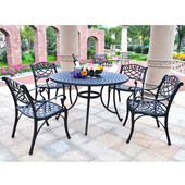 Sedona 48'' Five Piece Cast Aluminum Outdoor Dining Set with Arm Chairs in Black Finish