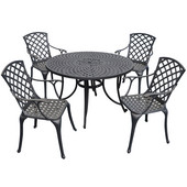 Sedona 48'' Five Piece Cast Aluminum Outdoor Dining Set with High Back Arm Chairs in Black Finish