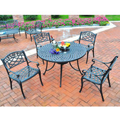 Sedona 42'' Five Piece Cast Aluminum Outdoor Dining Set with Arm Chairs in Black Finish