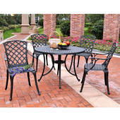 Sedona 42'' Five Piece Cast Aluminum Outdoor Dining Set with High Back Arm Chairs in Black Finish