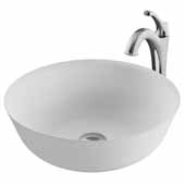 KRAUS Natura™ 16-5/16'' White Matte Solid Surface Round Bathroom Vessel Sink and Arlo™ Faucet Combo Set with Pop-Up Drain In Chrome, 16-5/16''Diameter x 6''H