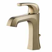KRAUS Esta™ Single Handle Bathroom Faucet with Lift Rod Drain In Brushed Gold, Spout Height: 3-7/8'', Spout Reach: 4-3/4''