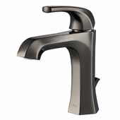 KRAUS Esta™ Single Handle Bathroom Faucet with Lift Rod Drain In Gunmetal, Spout Height: 3-7/8'', Spout Reach: 4-3/4''