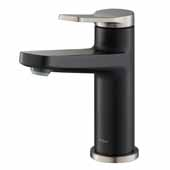 KRAUS Indy™ Single Handle Bathroom Faucet In Spot Free Stainless Steel/Matte Black, Spout Height: 4-5/8'', Spout Reach: 5-1/8''