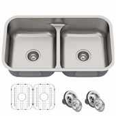KRAUS Premier 32''16 Gauge Undermount 50/50 Double Bowl Stainless Steel Kitchen Sink, 32''W x 19''D x 8-1/2''H