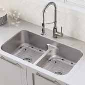 KRAUS Ellis™ 33''16 Gauge Undermount Kitchen Sink Combo Set with Bolden™ 18''Pull-Down Commercial Kitchen Faucet In Stainless Steel, 32''W x 19''D x 8-1/2''H
