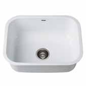 KRAUS Pintura™ 23'' 16 Gauge Undermount Single Bowl Enameled Stainless Steel Kitchen Sink In White, 23''W x 17-1/2''D x 9''H