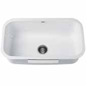 KRAUS Pintura™ 31-1/2''16 Gauge Undermount Single Bowl Enameled Stainless Steel Kitchen Sink In White, 31-1/2''W x 18-3/8''D x 10''H