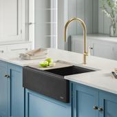 Bellucci™ Quartz Composite Single Bowl Apron Front Farmhouse Kitchen Sink Workstation in Metallic Black with Free Cutting Board, 32-7/8''W x 20-3/4''D x 9-3/8''H