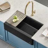 Bellucci™ Quartz Composite Single Bowl Apron Front Farmhouse Kitchen Sink Workstation in Metallic Black with Free Cutting Board, 29-3/4''W x 20-3/4''D x 9-3/8''H