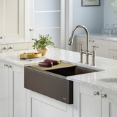 Bellucci™ Quartz Composite Single Bowl Apron Front Farmhouse Kitchen Sink Workstation in Metallic Brown with Free Cutting Board, 32-7/8''W x 20-3/4''D x 9-3/8''H