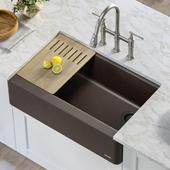 Bellucci™ Quartz Composite Single Bowl Apron Front Farmhouse Kitchen Sink Workstation in Metallic Brown with Free Cutting Board, 29-3/4''W x 20-3/4''D x 9-3/8''H