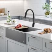Bellucci™ Quartz Composite Single Bowl Apron Front Farmhouse Kitchen Sink Workstation in Metallic Grey with Free Cutting Board, 32-7/8''W x 20-3/4''D x 9-3/8''H