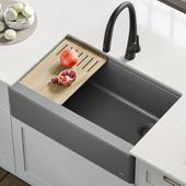 Bellucci™ Quartz Composite Single Bowl Apron Front Farmhouse Kitchen Sink Workstation in Metallic Grey with Free Cutting Board, 29-3/4''W x 20-3/4''D x 9-3/8''H