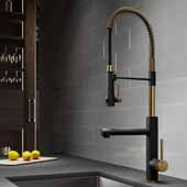 KRAUS Artec Pro™ 2-Function Commercial Style Pre-Rinse Kitchen Faucet with Pull-Down Spring Spout and Pot Filler In Brushed Gold/Matte Black Finish, Spout Height: 6-5/8'', Spout Reach: 7-5/8''