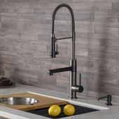 KRAUS Artec Pro™ 2-Function Commercial Style Pre-Rinse Kitchen Faucet with Pull-Down Spring Spout and Pot Filler In Matte Black/Black Stainless Steel Finish, Spout Height: 6-5/8'', Spout Reach: 7-5/8''