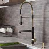 KRAUS Artec Pro™ 2-Function Commercial Style Pre-Rinse Kitchen Faucet with Pull-Down Spring Spout and Pot Filler In Black Stainless Steel/Brushed Gold Finish, Spout Height: 6-5/8'', Spout Reach: 7-5/8''