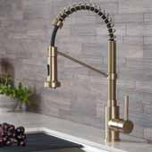 KRAUS Bolden™ Single Handle 18''Commercial Kitchen Faucet with Dual Function Pull-Down Spray head In Brushed Gold, Spout Height: 6-3/8'', Spout Reach: 8-3/4''