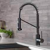 KRAUS Bolden™ Single Handle 18''Commercial Kitchen Faucet with Dual Function Pull-Down Spray head In Matte Black/Black Stainless Steel Finish, Spout Height: 6-3/8'', Spout Reach: 8-3/4''