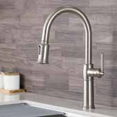 KRAUS Sellette™ Traditional Single Handle Pull-Down Kitchen Faucet In Spot Free Stainless Steel, Spout Height: 7-1/2'', Spout Reach: 8-1/2''