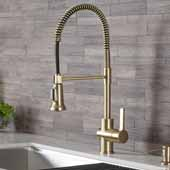 KRAUS Britt™ Single Handle Commercial Kitchen Faucet with Dual Function Spray head In Brushed Gold, Spout Height: 6-7/16'', Spout Reach: 8-1/2''