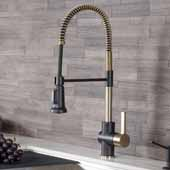 KRAUS Oletto™ Single Handle Pull Down Kitchen Faucet In Brushed Brass, 10-1/2''W x 4-1/4''D x 15-3/4''H