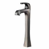 KRAUS Esta™ Single Handle Vessel Bathroom Faucet with Pop-Up Drain In Gunmetal, Spout Height: 9'', Spout Reach: 5-1/8''