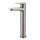 KRAUS Indy™ Single Handle Vessel Bathroom Faucet In Spot Free Stainless Steel, Spout Height: 9-1/4'', Spout Reach: 5-1/8''