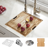 Kore™ 16 Gauge Single Bowl Undermount Kitchen Sink Workstation in Stainless Steel with Free Cutting Board, 17''W x 19''D x 10''H