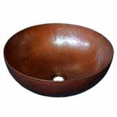 Maestro Round Bathroom Sink in Antique Copper, 16''Diameter x 6-1/2''H