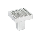 Italian Designs Collection Small Square Sparkling Swarovski Knob in Bright Chrome, 1''W x 1''D x 1''H
