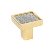 Italian Designs Collection Small Square Sparkling Swarovski Knob in Gold, 1''W x 1''D x 1''H