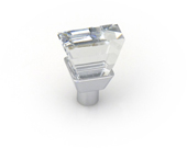 Crystal Collection Swarovski Crystal Knob, Square Cut in Bright Chrome, 3/4''W x 3/4''D x 1/2''H