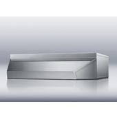 20'' W Under Cabinet Mount Shell Hood, Stainless Steel