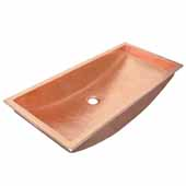Trough 30'' Bathroom Sink in Polished Copper, 30''W x 14''D x 6''H