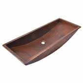 Trough 36'' Bathroom Sink in Antique Copper, 36''W x 14''D x 6''H