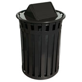 Oakley Slatted Metal Waste Receptacle with Swing Top Lid, Plastic Liner, 28'' Dia. x 44-3/10''H, 50 gal, Black