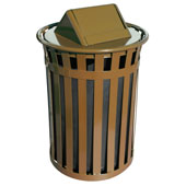 Oakley Slatted Metal Waste Receptacle with Swing Top Lid, Plastic Liner, 28'' Dia. x 44-3/10''H, 50 gal, Brown